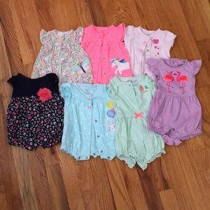 Set of 7 newborn girl rompers